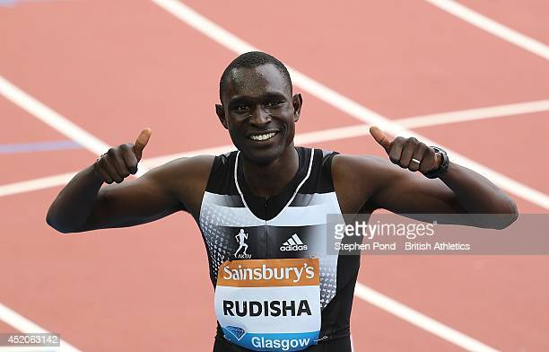 David Rudisha of Kenya celebrates winning the Men's 800m event during day two of the Sainsbury's Glasgow Grand Prix Diamond League athletics meeting...