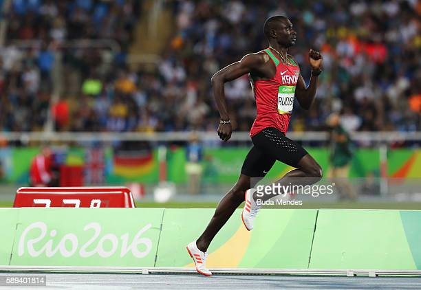 David Rudisha of Kenya competes in the Men's 800m Semi Final on Day 8 of the Rio 2016 Olympic Games at the Olympic Stadium on August 13 2016 in Rio...