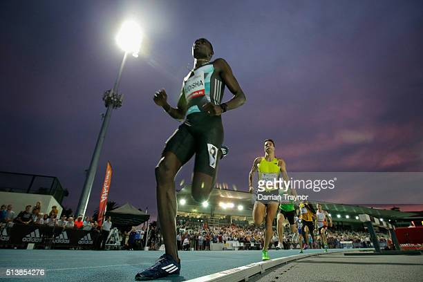 David Rudisha of Kenya leads the 800 metres in front of Luke Mathews of Australia during the IAAF World Challenge at Olympic Park on March 5 2016 in...