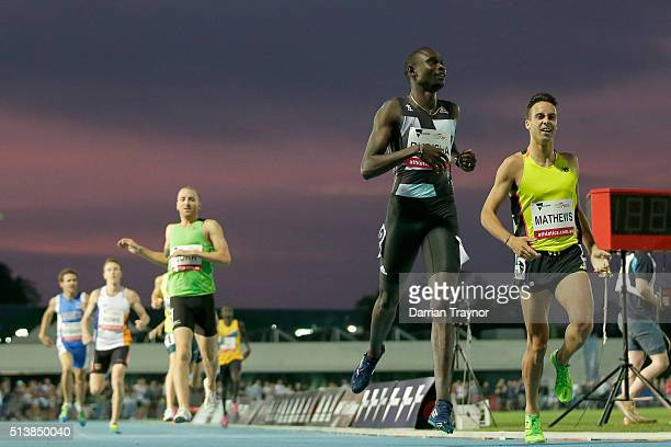 David Rudisha of Kenya wins the 800 metres in front of Luke Mathews of Australia during the IAAF World Challenge at Olympic Park on March 5 2016 in...