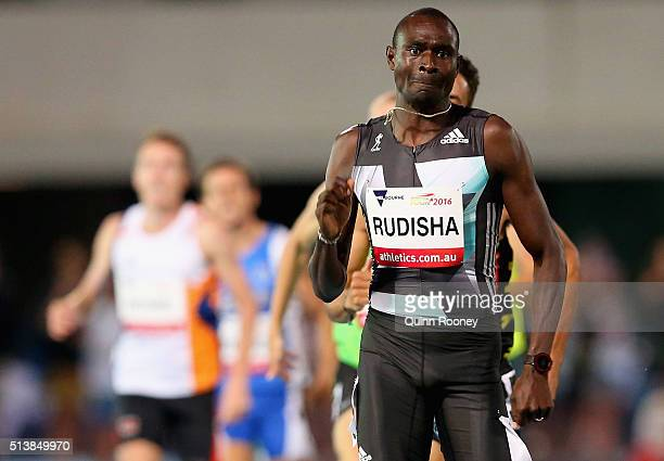David Rudisha of Kenya wins the Men's 800 Metres during the IAAF World Challenge at Olympic Park on March 5 2016 in Melbourne Australia
