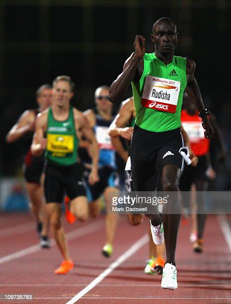 David Rudisha of Kenya wins the Mens 800 Metres during the Melbourne Track Classic at Melbourne Olympic Park on March 3 2011 in Melbourne Australia