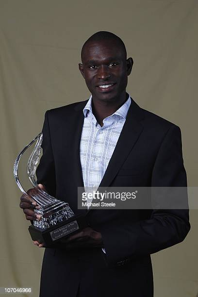 David Rudisha of Kenya with the male athlete of the year trophy during the IAAF World Gala at The Sporting Club on November 21 2010 in Monte Carlo...