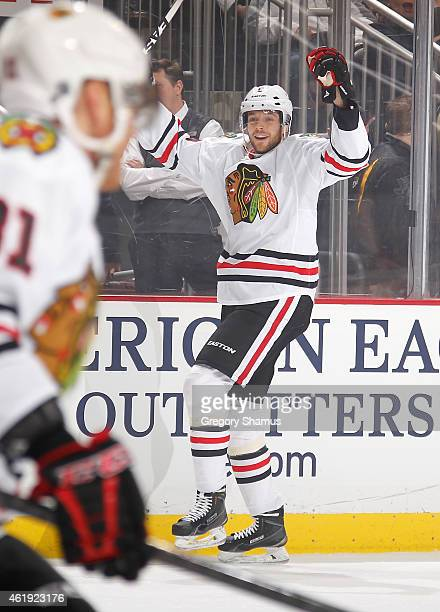 David Rundblad of the Chicago Blackhawks celebrates his goal during the first period against the Pittsburgh Penguins at Consol Energy Center on...