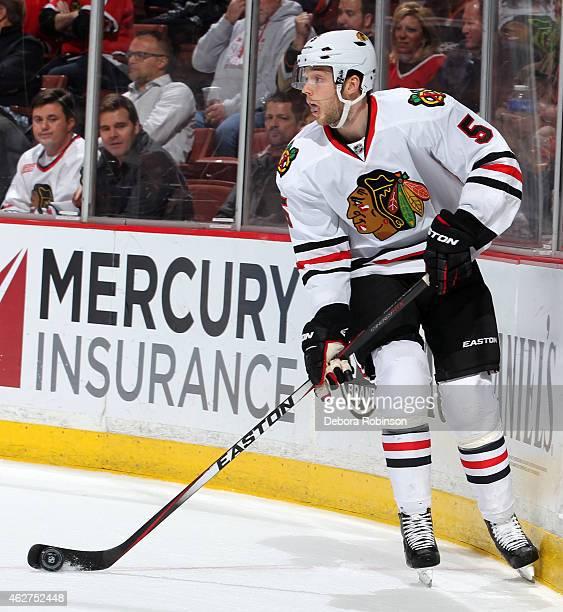David Rundblad of the Chicago Blackhawks handles the puck against the Anaheim Ducks on January 30 2015 at Honda Center in Anaheim California