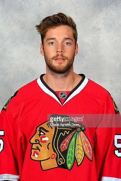 David Rundblad of the Chicago Blackhawks poses for his official headshot for the 20152016 season on September 16 2015 at the United Center in Chicago...