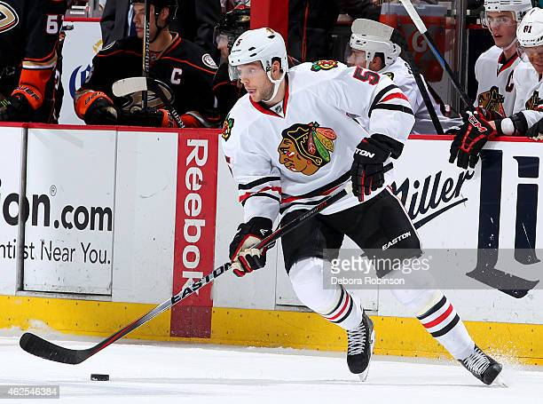 David Rundblad of the Chicago Blackhawks skates against the Anaheim Ducks on January 30 2015 at Honda Center in Anaheim California
