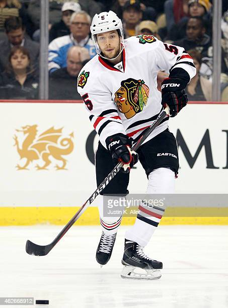 David Rundblad of the Chicago Blackhawks skates against the Pittsburgh Penguins during the game at Consol Energy Center on January 21 2015 in...