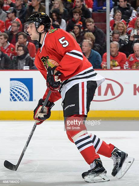 David Rundblad of the Chicago Blackhawks skates during the NHL game against the Winnipeg Jets on November 02 2014 at the United Center in Chicago...