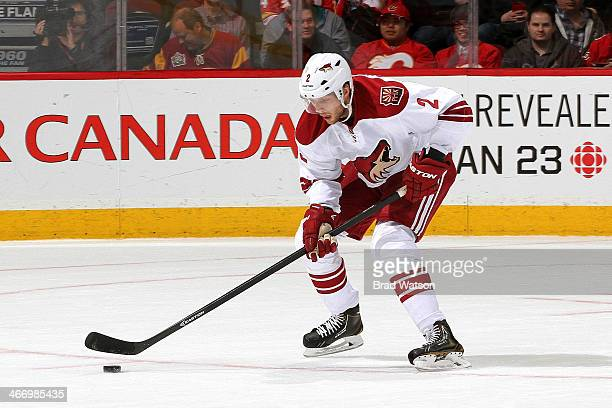 David Rundblad of the Phoenix Coyotes skates against the Calgary Flames at Scotiabank Saddledome on January 22 2014 in Calgary Alberta Canada The...