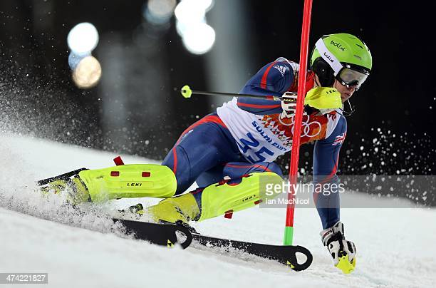 David Ryding of Great Britain competes during the second run of the Men's Slalom on Day 15 of the Sochi 2014 Winter Olympics at Rosa Khutor Alpine...