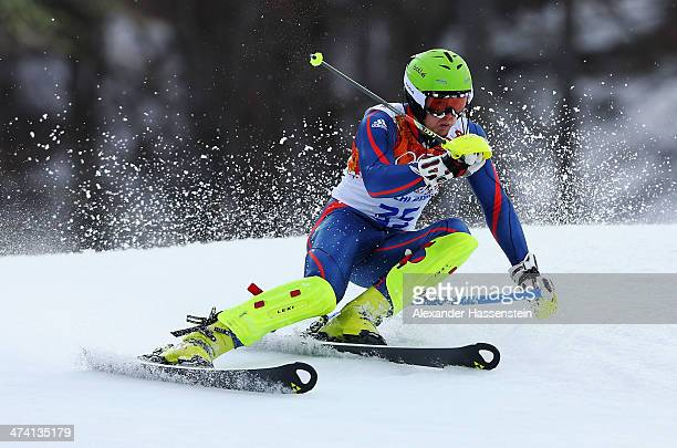 David Ryding of Great Britain in action during the Men's Slalom during day 15 of the Sochi 2014 Winter Olympics at Rosa Khutor Alpine Center on...