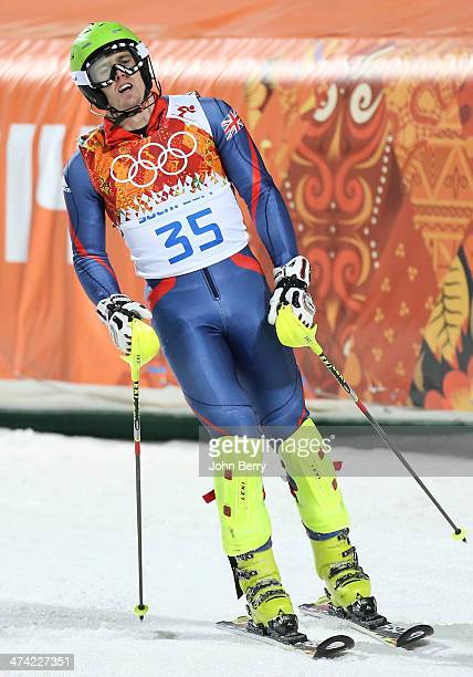 David Ryding of Great Britain reacts after crossing the line during the Men's Slalom during day 15 of the Sochi 2014 Winter Olympics at Rosa Khutor...