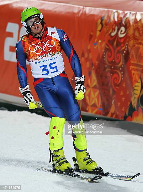 David Ryding of Great Britain reacts after finishing the second run during the Men's Slalom during day 15 of the Sochi 2014 Winter Olympics at Rosa...