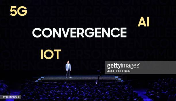 David S Park Head of US Mobile Channel Marketing speaks during the Samsung Galaxy Unpacked 2020 event in San Francisco California on February 11 2020...