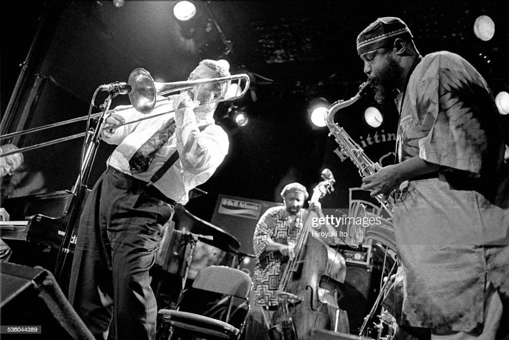 David S. Ware Quartet performing at the Knitting Factory on June 10, 1999.This image:From left, Matthew Shipp, Alex Lodico, William Parker and David S. Ware.