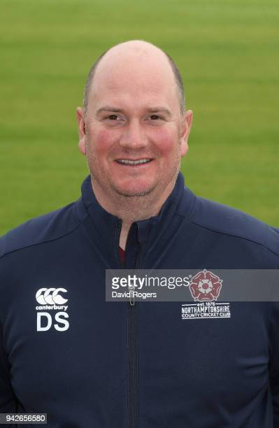 David Sales batting head coach of Northamptonshire County Cricket Club poses for a portrait during the photocall held at The County Ground on April 6...