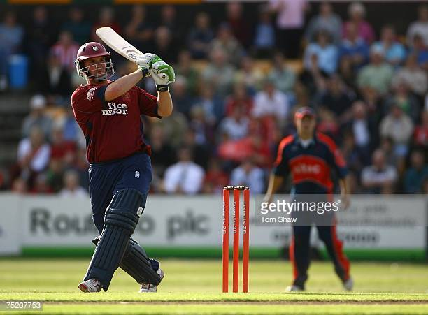 David Sales of Northampton hits out during the Twenty20 Cup match between Northamptonshire and Somerset at the County Ground on July 6 2007 in...