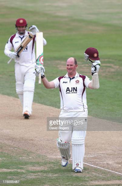 David Sales of Northamptonshire celebrates after scoring a double century during the LV County Championship Division Two match between...