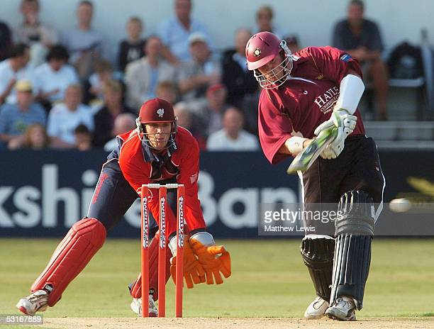 David Sales of Northamptonshire hits a four during the Twenty20 match between Northamptonshire and Somerset at The County Ground on June 29 2005 in...