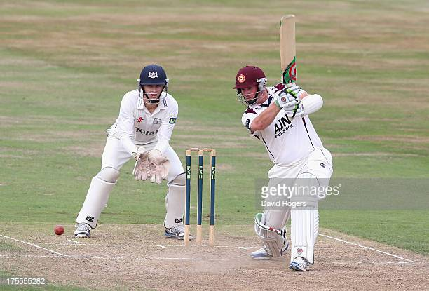 David Sales of Northamptonshire hits four runs during the LV County Championship Division Two match between Northamptonshire and Gloucestershire at...