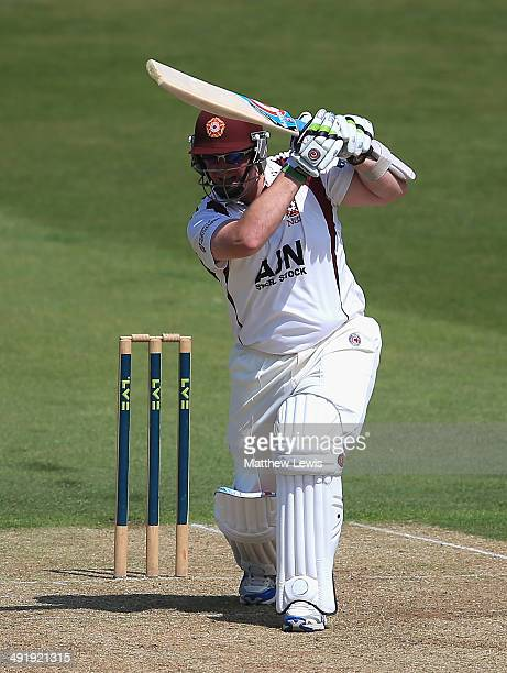 David Sales of Northamptonshire hits the ball towards the boundary during the LV County Championship match between Northamptonshire and Middlesex at...