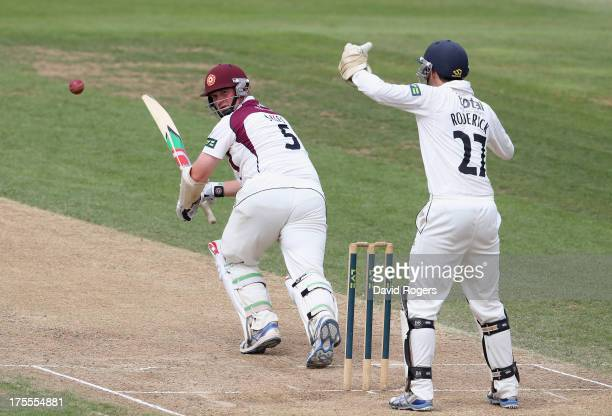 David Sales of Northamptonshire plays the ball off his legs to score four runs during the LV County Championship Division Two match between...