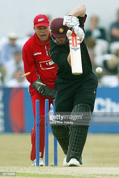 David Sales of Northamptonshire Steelbacks is bowled by Carl Hooper of Lancashire Lightning during the National Cricket League Division Two match on...