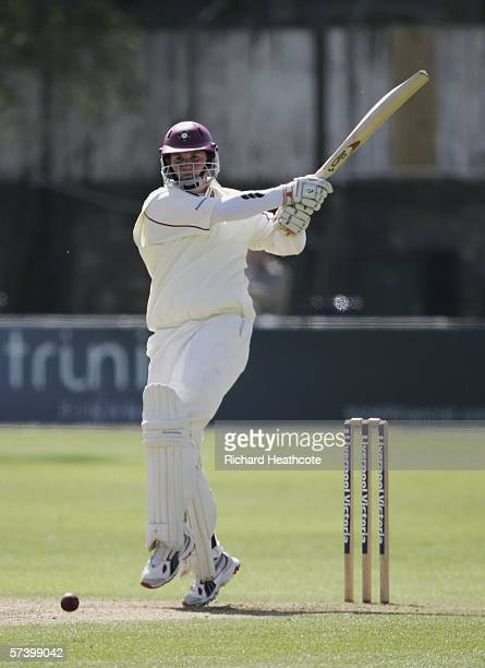 David Sales of Northants hits a boundary during the forth day of the County Championship Division Two match between Essex and Northamptonshire at The...