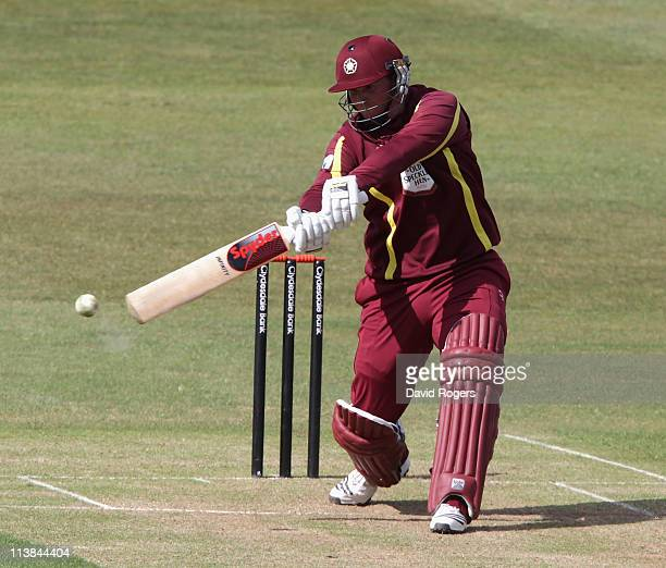David Sales of Northants hits a four during the Clydesdale Bank 40 match between Northamptonshire v Warwickshire at Wantage Road on May 8 2011 in...