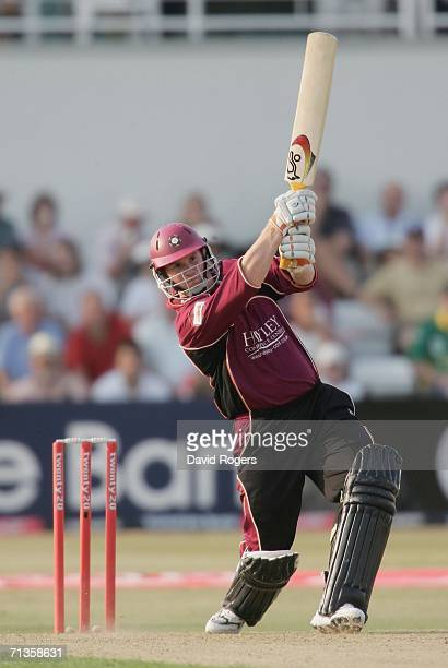 David Sales of Northants hits a six during the Twenty20 match between Northamptonshire Steelbacks and Worcestershire Royals at the County Ground on...