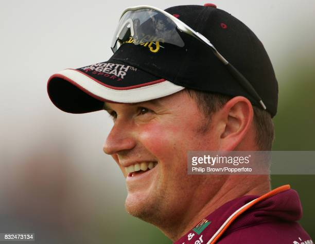 David Sales of Nothamptonshire smiles after taking a catch during the Twenty20 Cup match between Northamptonshire and Somerset at Northampton 29th...