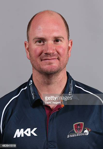 David Sales poses for a portrait in the T20 kit during the Northamptonshire CCC photocall held in the Northampton Market Square on April 4 2014 in...