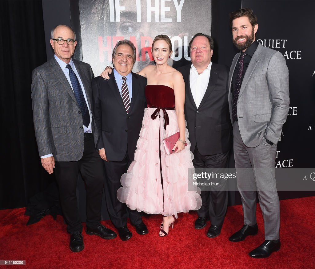 David Sameth, Jim Gianopulos, Emily Blunt, Robert Bakish, and John Krasinski attend the Paramount Pictures New York Premiere of 'A Quiet Place' at AMC Lincoln Square theater onApril 2, 2018 in New York, New York.
