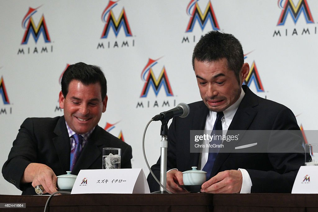 David Samson, President Miami Marlins and Ichiro Suzuki joke around with pots of tea during the press conference at the Capitol Hotel Tokyu on January 29, 2015 in Tokyo, Japan. Ichiro Suzuki, a 41-year-old outfielder with nearly 3,000 hits, has finalized a $2-million, one-year contract with the Miami Marlins.