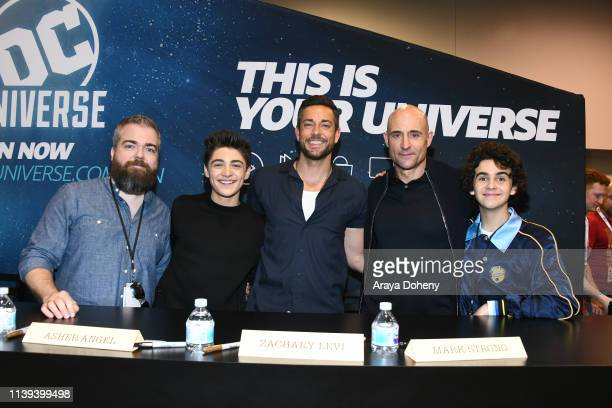 """David Sandberg, Asher Angel, Zachary Levi, Mark Strong and Jack Dylan Grazer attend the """"Shazam!"""" meet and greet at WonderCon 2019 - Day 2 at Anaheim..."""