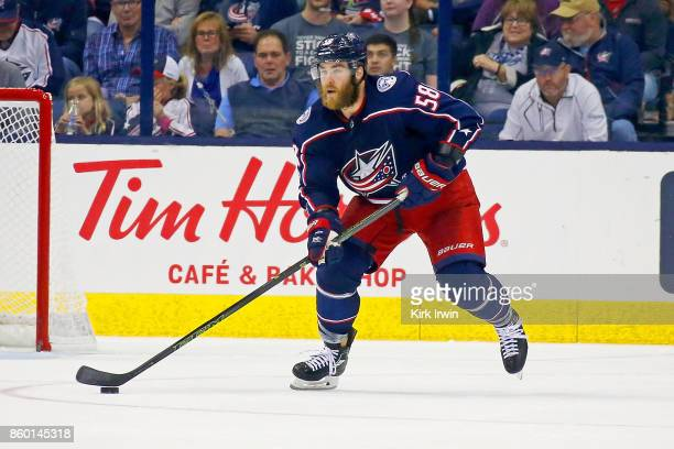 David Savard of the Columbus Blue Jackets controls the puck during the game against the New York Islanders on October 6 2017 at Nationwide Arena in...
