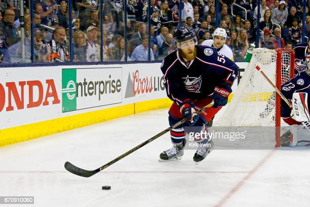 David Savard of the Columbus Blue Jackets controls the puck in Game Four of the Eastern Conference First Round during the 2017 NHL Stanley Cup...