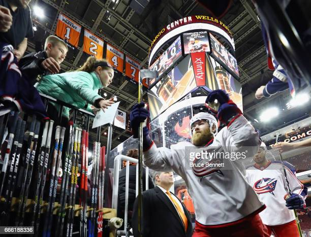David Savard of the Columbus Blue Jackets leaves the ice following warmups prior to the game against the Philadelphia Flyers at the Wells Fargo...