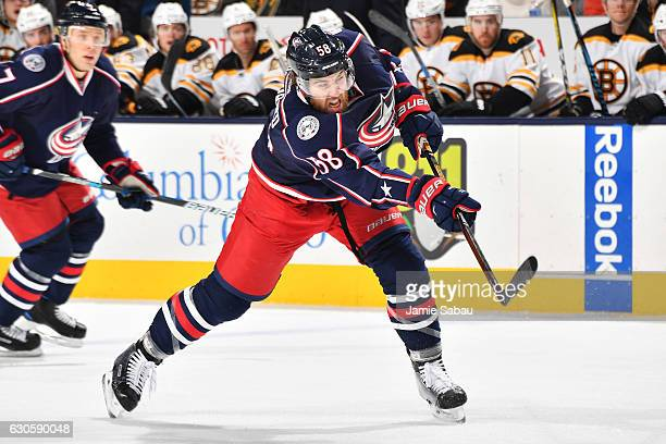 David Savard of the Columbus Blue Jackets shoots the puck during the first period of a game against the Boston Bruins on December 27 2016 at...