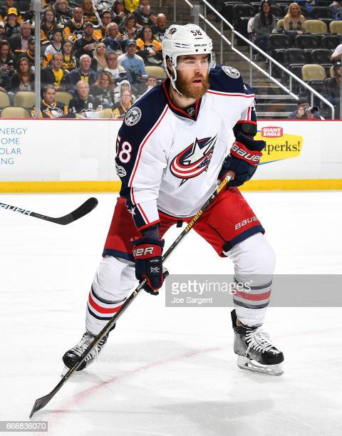 David Savard of the Columbus Blue Jackets skates against the Pittsburgh Penguins at PPG Paints Arena on April 4 2017 in Pittsburgh Pennsylvania