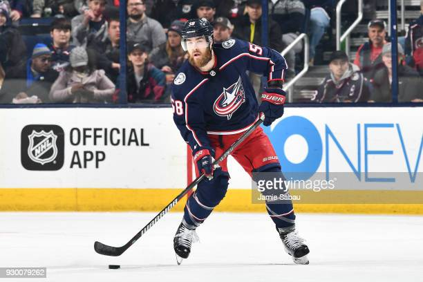 David Savard of the Columbus Blue Jackets skates against the Colorado Avalanche on March 8, 2018 at Nationwide Arena in Columbus, Ohio.