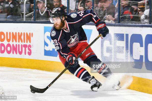 David Savard of the Columbus Blue Jackets skates against the Pittsburgh Penguins in Game Four of the Eastern Conference First Round during the 2017...
