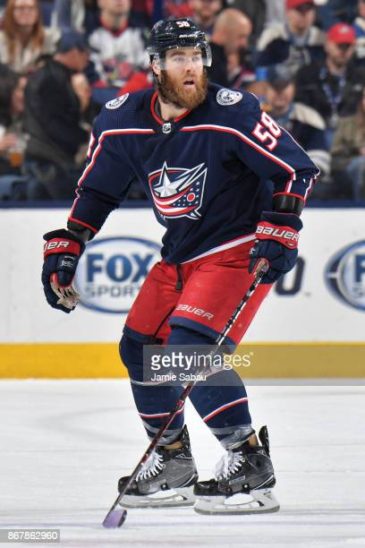 David Savard of the Columbus Blue Jackets skates against the Winnipeg Jets on October 27 2017 at Nationwide Arena in Columbus Ohio