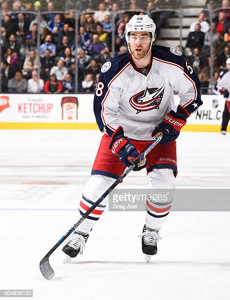 David Savard of the Columbus Blue Jackets skates during NHL game action against the Toronto Maple Leafs January 13 2016 at Air Canada Centre in...