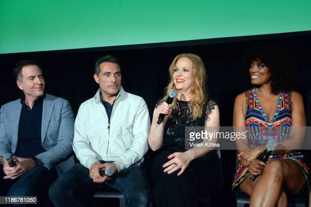 David Scarpa Rufus Sewell Chelah Horsdal and Frances Turner speak onstage at Vulture Festival Presented By ATT at The Roosevelt Hotel on November 10...