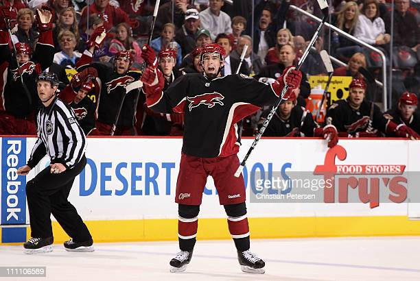 David Schlemko of the Phoenix Coyotes celebrates after scoring a second period goal against the Dallas Stars during the NHL game at Jobing.com Arena...