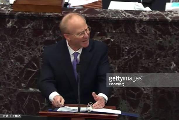 David Schoen, defense attorney for Donald Trump, speaks in the Senate Chamber in a video screenshot in Washington, D.C., U.S., on Friday, Feb. 12,...