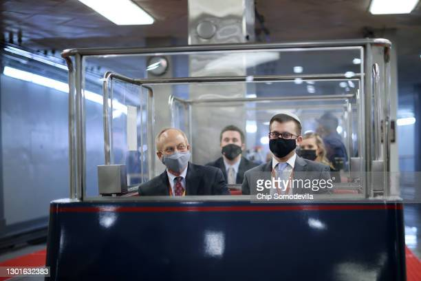 David Schoen defense lawyer for former President Donald Trump, rides a subway train at the U.S. Capitol during the third day of former President...