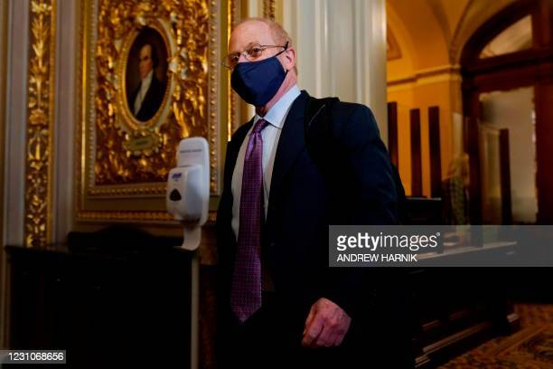 David Schoen, lawyer for former US President Donald Trump, talks to the media as he walks off the Senate floor at the conclusion of the first day of...